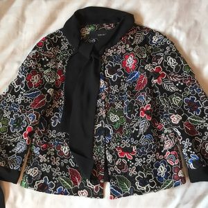 Zara holiday stained glass lace jacket/blouse